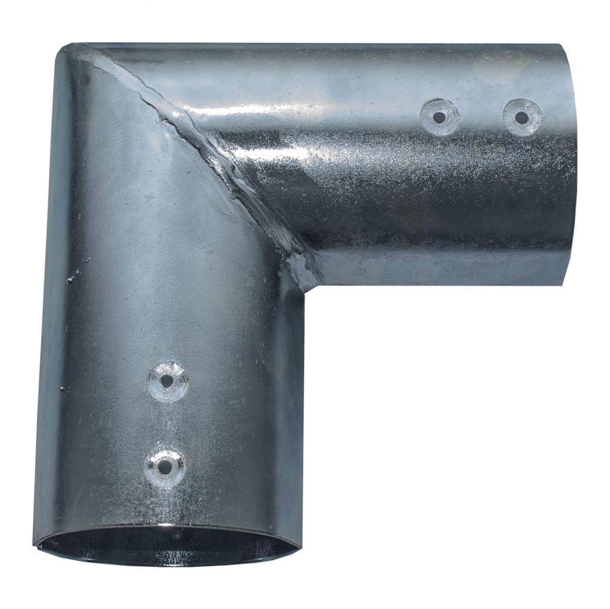 21811101verbindingsset voor ronde palen 10 cm gegalvaniseerd hoekeindstuk