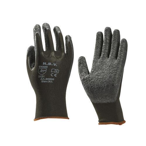 31800014 werkhandschoenen hbv nylon latex coating zwart l9